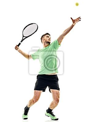 Naklejka jeden kaukaski mężczyzna gra w tenisa Zawodnik odbywający służbę na białym tle