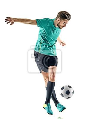 Jeden kaukaski mężczyzna piłkarski samodzielnie na białym tle