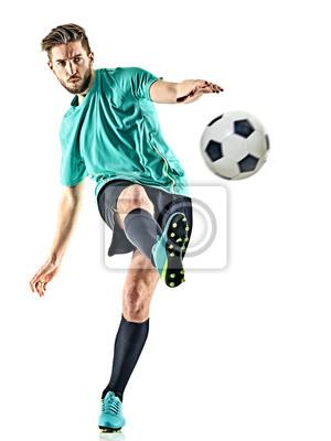 jeden kaukaski mężczyzna piłkarz na białym tle