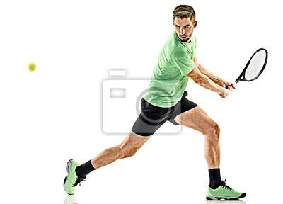 jeden kaukaski mężczyzna player gra w tenisa na białym tle