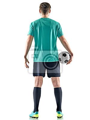 jeden kaukaski piłkarz człowiek stojący Widok z tyłu gospodarstwa piłki nożnej na białym tle