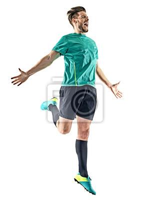jeden kaukaski piłkarz człowiek szczęśliwy uroczystości na białym tle