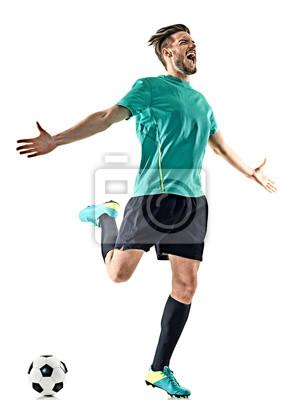 Jeden kaukaski piłkarz człowiek szczęśliwy uroczystości samodzielnie na białym tle