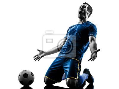 Naklejka Jeden kaukaski piłkarz człowiek szczęśliwy uroczystości w sylwecie samodzielnie na białym tle