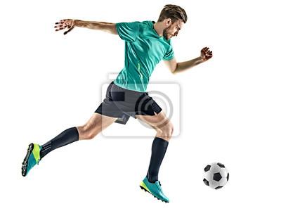 Jeden kaukaski piłkarz mężczyzna działa samodzielnie na białym tle