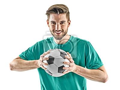 jeden kaukaski piłkarz mężczyzna stałego gospodarstwa piłki nożnej samodzielnie na białym tle