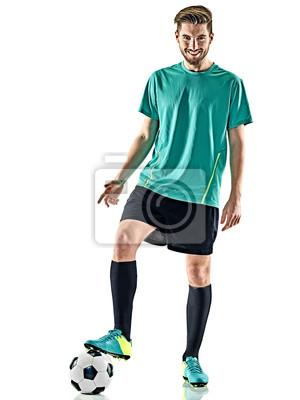 Jeden kaukaski piłkarz mężczyzna stałego uśmiecha się z piłką nożną samodzielnie na białym tle