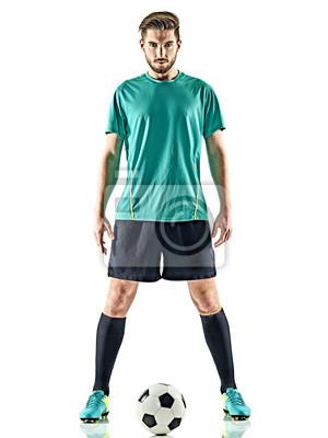 jeden kaukaski piłkarz Mężczyzna stałego w piłce nożnej samodzielnie na białym tle
