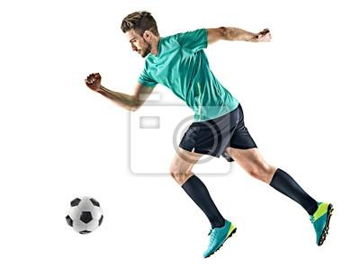 jeden piłkarz kaukaski mężczyzna działa na białym tle