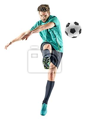 jeden piłkarz kaukaski mężczyzna na białym tle