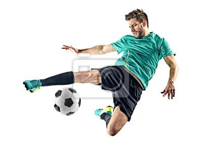 Naklejka jeden piłkarz kaukaski mężczyzna na białym tle