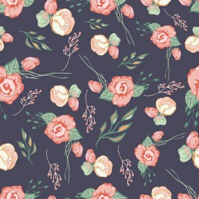 Naklejka Jednolite kolorowe kwiatowy wzór 4 elementy