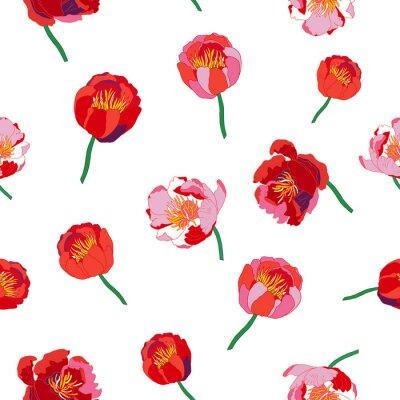 Naklejka Jednolite kwiatowy wzór. Pojedyncze czerwone kwiaty na białym tle. ilustracji wektorowych.