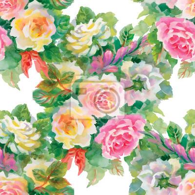 Jednolite kwiatowy wzór z czerwonych i pomarańczowych róż
