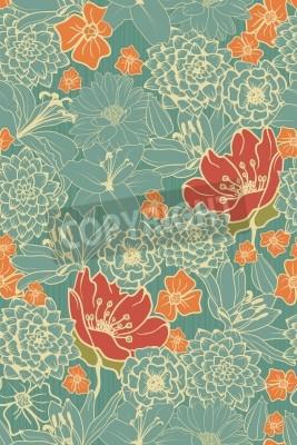 Naklejka Jednolite kwiatowy wzór z czerwonymi kwiatami na monochromatyczne tło