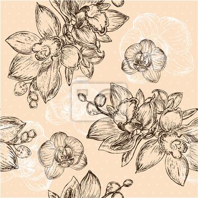 Naklejka Jednolite kwiatowy wzór z orchidei