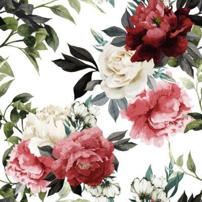Naklejka Jednolite kwiatowy wzór z róż, akwarela. Wektorowe illustrat