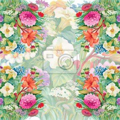 Jednolite kwiatowy wzór z różami akwarela i Polne kwiaty
