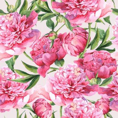 Naklejka Jednolite tło akwarela z różowymi piwonie