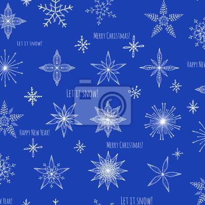Naklejka Jednolite tło zestaw ręcznie rysowane płatki ozdób choinkowych wykonanych z dekoracyjne płatki szkic ilustracji wektorowych Christmas tła z Białe płatki śniegu na niebieskim tle