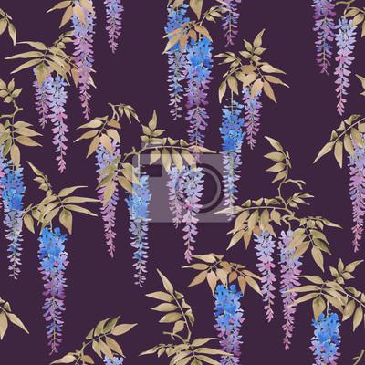 Jednolite wzór akwarela, skupiska fioletowych kwiatach niebieskich Wisteria na ciemnym tle.