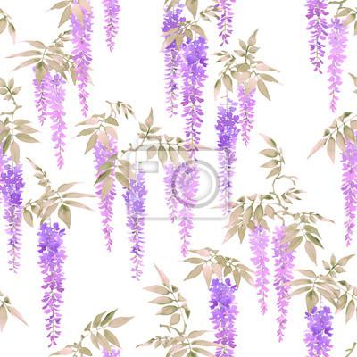 Jednolite wzór akwarela, skupiska światła fioletowe kwiaty wisteria na białym tle.