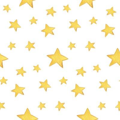 Naklejka Jednolite wzór akwarela: Wesołych Świąt, żółtych gwiazd