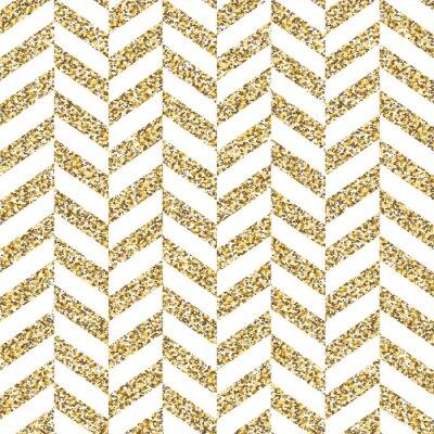 Naklejka Jednolite wzór chevron. Połyskujące złotą powierzchnię