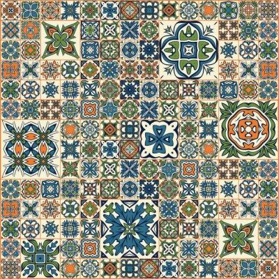 Naklejka Jednolite wzór patchwork, płytki, ozdoby