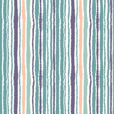 Naklejka Jednolite wzór w paski. Pionowe wąskie linie. Torn papier, strzępić krawędzi tekstur. Niebieski, biały, pomarańczowy miękkie kolorowe. Wektor
