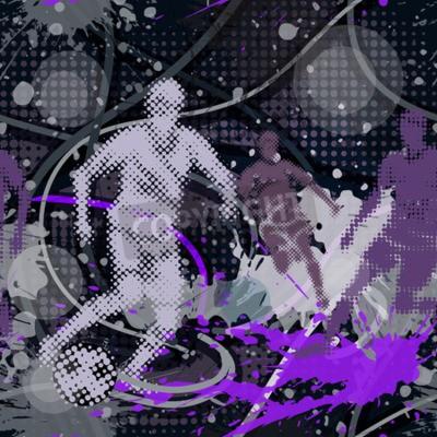 Jednolite wzór w stylu miejskim. Jasne kolorowe abstrakcyjne tło z graffiti motywy. Wektor tapety z piłkarz kopanie piłki.