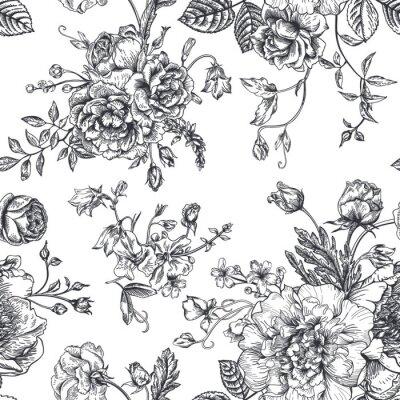 Naklejka Jednolite wzór z bukietem kwiatów.