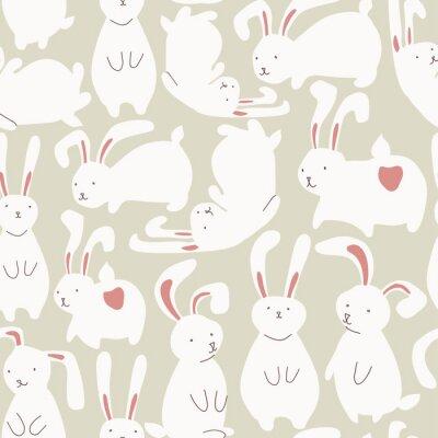 Naklejka Jednolite wzór z cute białych królików