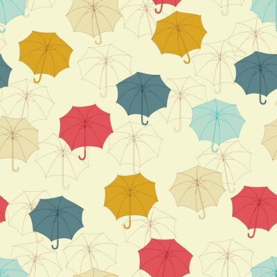 Jednolite wzór z cute parasole. Ilustracji wektorowych.