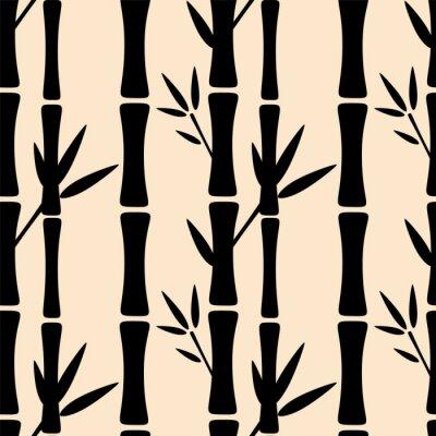 Naklejka Jednolite wzór z czarne sylwetki drzew bambusowych