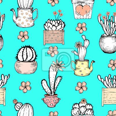Jednolite wzór z czarnym i białym kaktus z kwiatami w pastelowych różowy puli na niebieskim tle. Ilustracje drukować z kaktusów. Szablon Śliczne płytki, wyciągnąć rękę