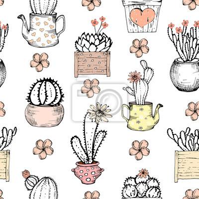 Jednolite wzór z czarnym i białym kaktus z kwiatami w pastelowym różowym puli. Ilustracje drukować z kaktusów. Szablon Śliczne płytki, wyciągnąć rękę