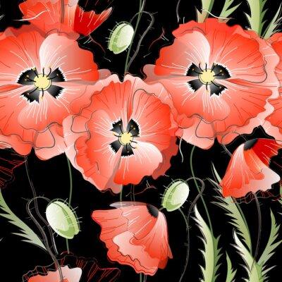 Naklejka Jednolite wzór z czerwonymi kwiatami maku