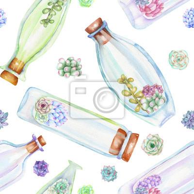Jednolite wzór z florariums, butelki akwarela z sukulentów i cuctuses wewnątrz, ręcznie rysowane na białym tle