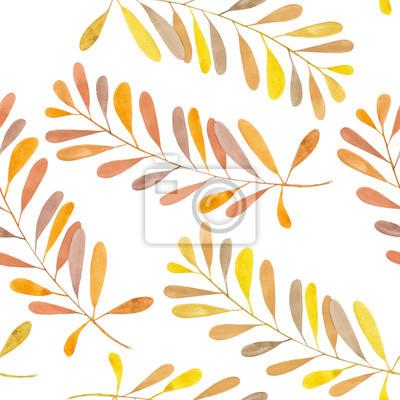Jednolite wzór z gałęzi akwarela z brązowym i pomarańczowym liści, ręcznie malowane na białym tle