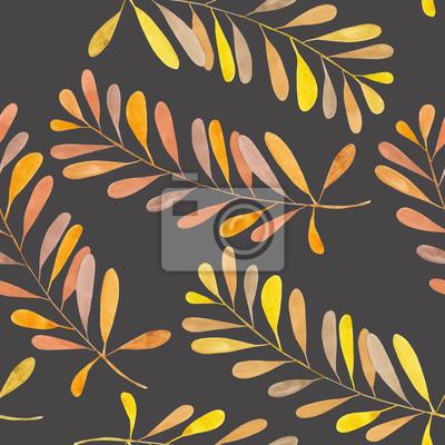 Jednolite wzór z gałęzi akwarela z brązowym i pomarańczowym liści, ręcznie malowane samodzielnie na ciemnym tle