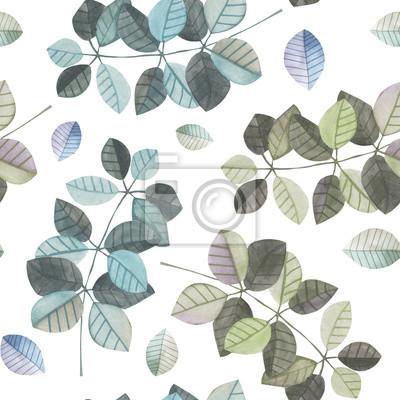 Jednolite wzór z gałęzi akwarela z niebieskim i szarym liści, ręcznie malowane na białym tle
