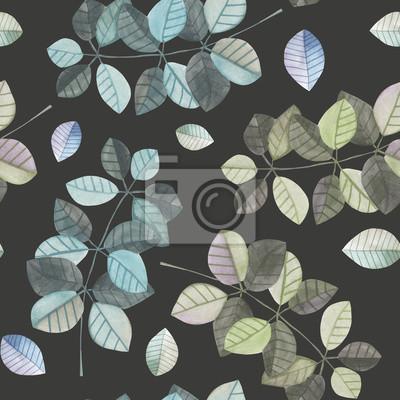 Jednolite wzór z gałęzi akwarela z niebieskim i szarym liści, ręcznie malowane samodzielnie na ciemnym tle