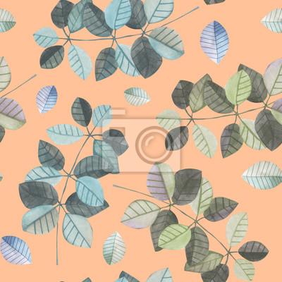 Jednolite wzór z gałęzi akwarela z niebieskim i szarym liści, ręcznie malowane samodzielnie na różowym tle