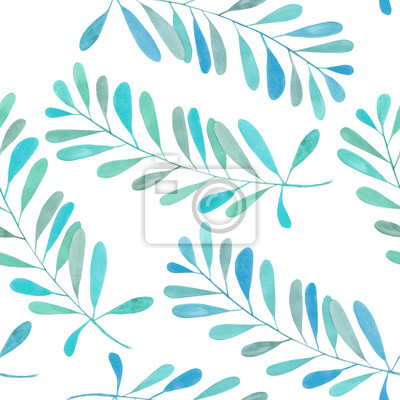 Jednolite wzór z gałęzi akwarela z niebieskimi i turkusowymi liści, ręcznie malowane na białym tle