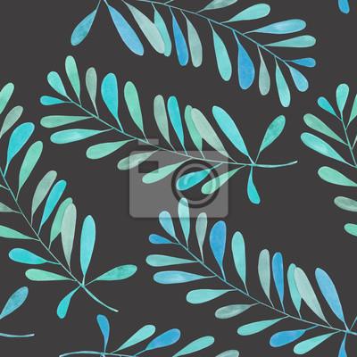 Jednolite wzór z gałęzi akwarela z niebieskimi i turkusowymi liści, ręcznie malowane samodzielnie na ciemnym tle