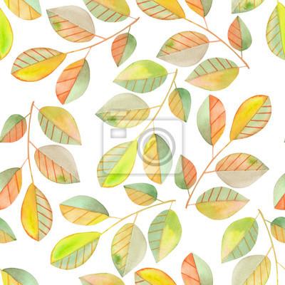 Jednolite wzór z gałęzi akwarela z zielonych i żółtych liści, ręcznie malowane na białym tle