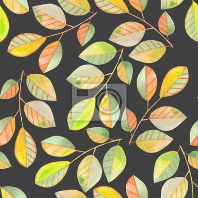 Jednolite wzór z gałęzi akwarela z zielonych i żółtych liści, ręcznie malowane samodzielnie na ciemnym tle