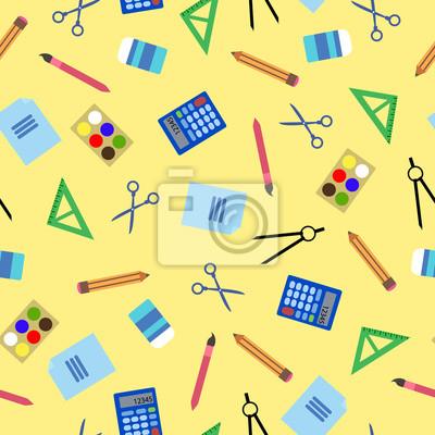 Jednolite wzór z ikon szkoły, biura. Kolorowe tło iilustration.