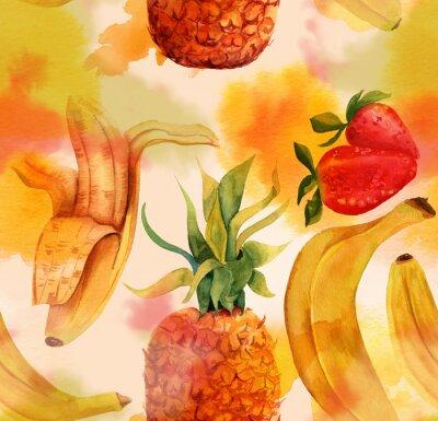Naklejka Jednolite wzór z jasnych banany, truskawki i ananasa